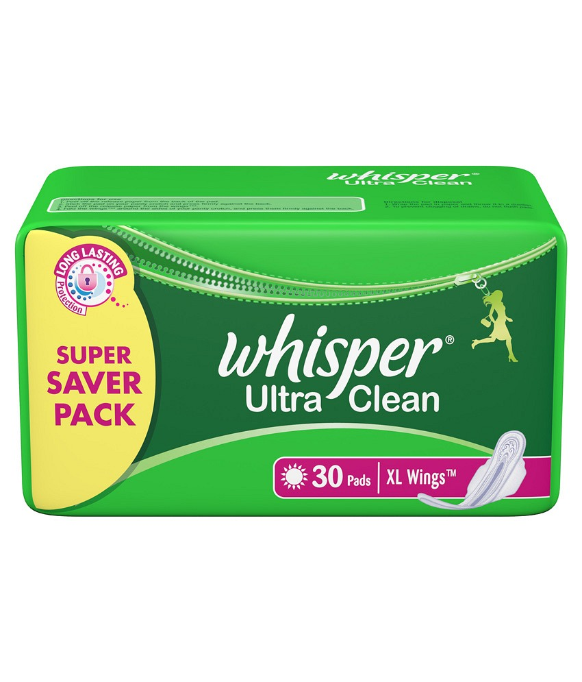 WHISPER ULTRA CLEAN XL PLUS WINGS SANITARY PADS - 30 PCS