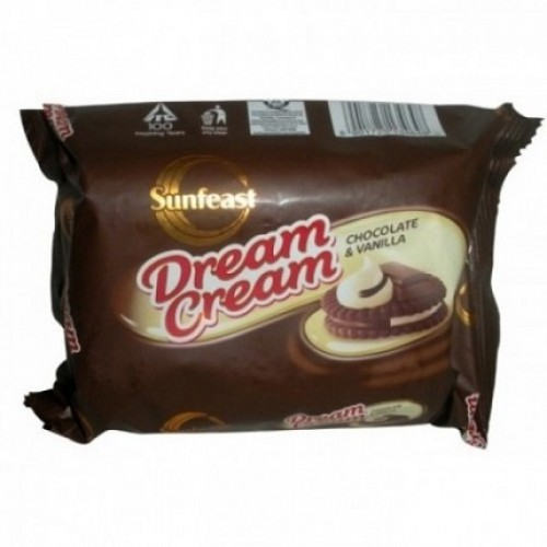 SUNFEAST DREAM CREAM BISCUITS - CHOCOLATE & VANILLA - 120 GM