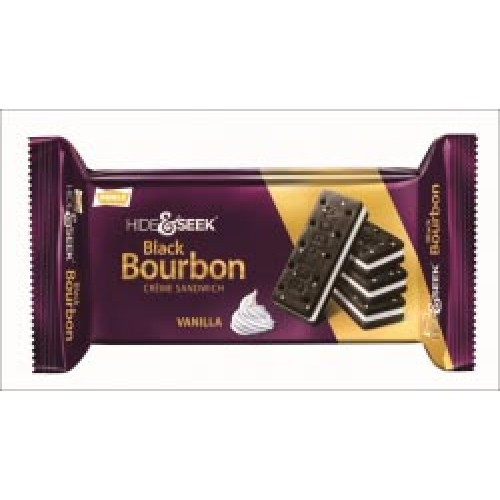 PARLE HIDE & SEEK BISCUITS - BLACK BOURBON CREAM SANDWICH - VANILLA - 100 GM