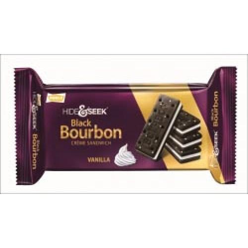 PARLE HIDE & SEEK BISCUITS - BLACK BOURBON CREAM SANDWICH - VANILLA - 100 GM