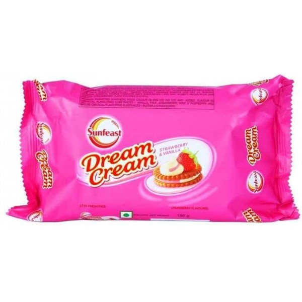 SUNFEAST DREAM CREAM BISCUITS - STRAWBERRY & VANILLA - 120 GM