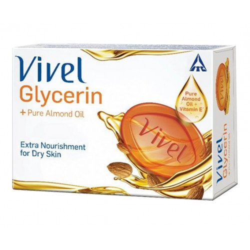 VIVEL SOAP - GLYCERINE PLUS PURE ALMOND OIL - 100 GM