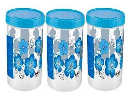 PLASTIC CONTAINER SET WITH SPOON 1500 ML (COLOR MAY VARY) - 3 PCS