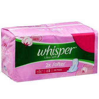 WHISPER ULTRA SOFT XL WINGS SANITARY PADS - SUPER SAVER PACK - 30 PCS