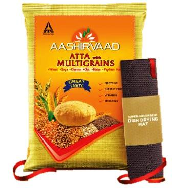AASHIRVAAD ATTA MULTIGRAINS - ATA - WHEAT - 5 KG FREE DISH DRYING MAT