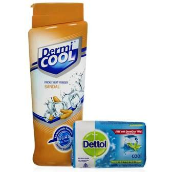 DERMI COOL SANDAL PRICKLY HEAT POWDER - 150 GM FREE DETTOL SOAP