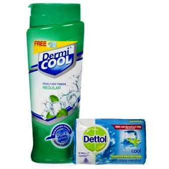DERMI COOL MENTHOL PRICKLY HEAT POWDER - 150 GM FREE DETTOL SOAP