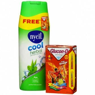 NYCIL COOL HERBAL POWDER - 150 GM PLUS FREE GLUCON D 100 GM