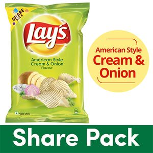 LAYS POTATO CHIPS CREAM AND ONION - 90 GM