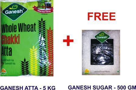 GANESH ATTA - ATA - WHEAT - 5 KG FREE GANESH SUGAR WORTH Rs 44