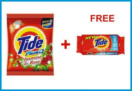TIDE DETERGENT POWDER PLUS JASMINE & ROSE - 1 KG FREE TIDE DETERGENT BAR