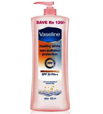 VASELINE HEALTHY WHITE SUN PLUS POLLUTION PROTECTION (SPF 24 PA PLUS) - 400 ML