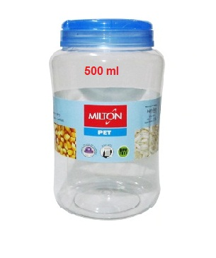 MILTON CRISP AND CLEAR ROUND PET JAR - 500 ML