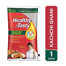 EMAMI HEALTHY & TASTY KACHI GHANI MUSTARD OIL - 1 LTR