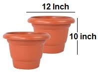 PLASTIC PLANT POT - 12 INCH DIA - 2PCS