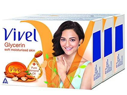 VIVEL SOAP - GLYCERINE PLUS PURE ALMOND OIL - 100 GM X 3 PLUS 1 FREE OFFER