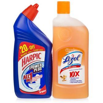 CLEANER COMBO PACK - HARPIC TOILET CLEANER PLUS LIZOL CITRUS - 500 ML X 2