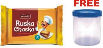 NUTRIBAKE RUSKA CHASKA BISCUITS - 200 GM PLUS FREE DESIGNER PLASTIC CONTAINER