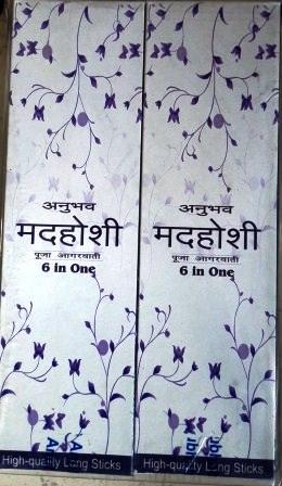 ANUBHAB MADHOSHI 6 IN 1 DHUPKATHI AGARBATTI INCENSE STICKS (84 STICKS) - 1 PKT