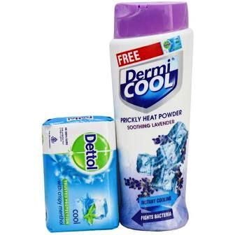 DERMI COOL LAVENDER PRICKLY HEAT POWDER - 150 GM PLUS FREE DETTOL SOAP