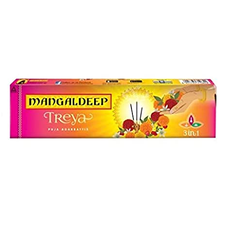 MANGALDEEP TREYA 3 IN 1 INCENSE STICKS - AGARBATTI - DHUPKATHI - 100 GM