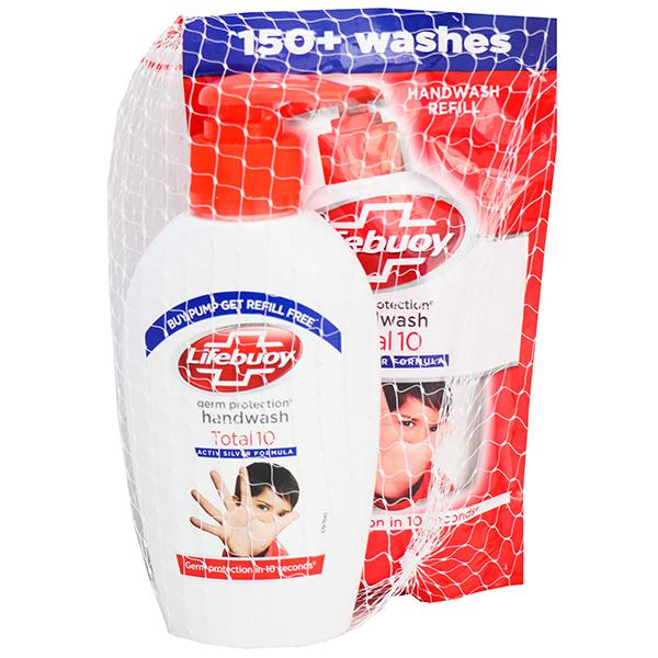 LIFEBUOY TOTAL 10 HAND WASH BOTTLE (RED) - 190 ML PLUS FREE REFILL