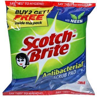 SCOTCH BRITE ANTI BACTERIAL NEEM SCRUB PAD - 7 X 10 CM - BUY 2 GET 1 FREE