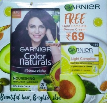 GARNIER COLOR COLOUR NATURAL BURGUNDY (3.16) -  70 ML PLUS 60 GM FREE LIGHT COMPLETE CREAM