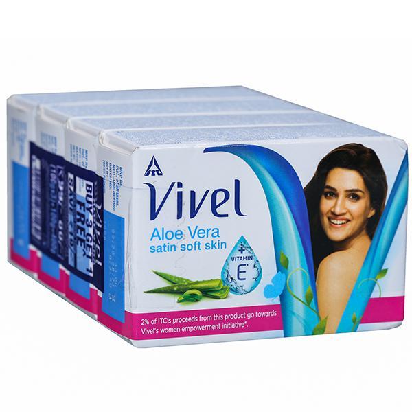 VIVEL SOAP - ALOE VERA SATIN SOFT SKIN - 100 GM X 3 PLUS 1 FREE