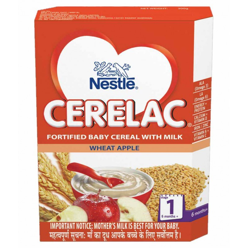 NESTLE CERELAC STAGE 1 WHEAT APPLE (6-12 MONTH) - 300 GM