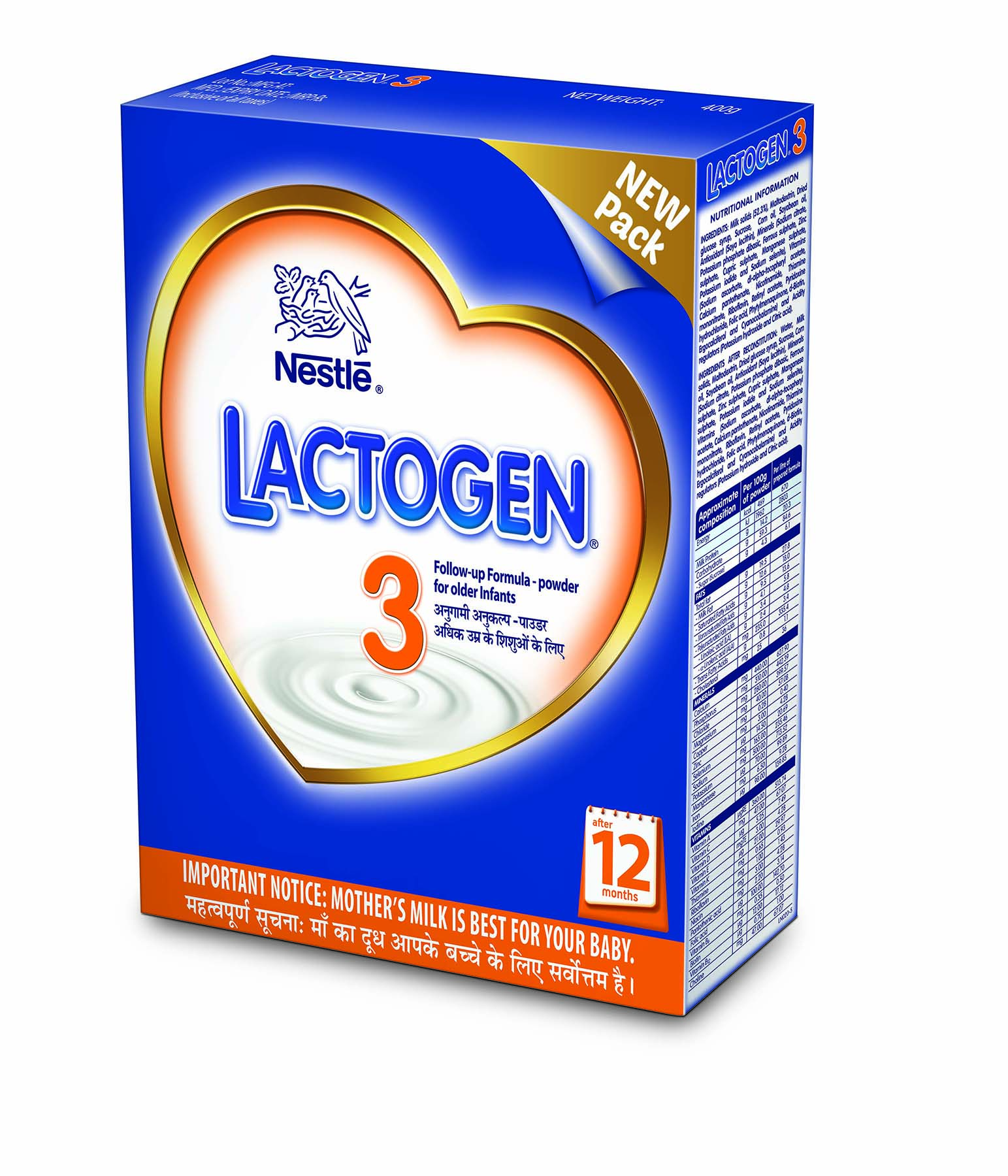 NESTLE LACTOGEN 3 FOLLOW UP FORMULA POWDER FOR OLDER INFANTS - 400 GM PKT