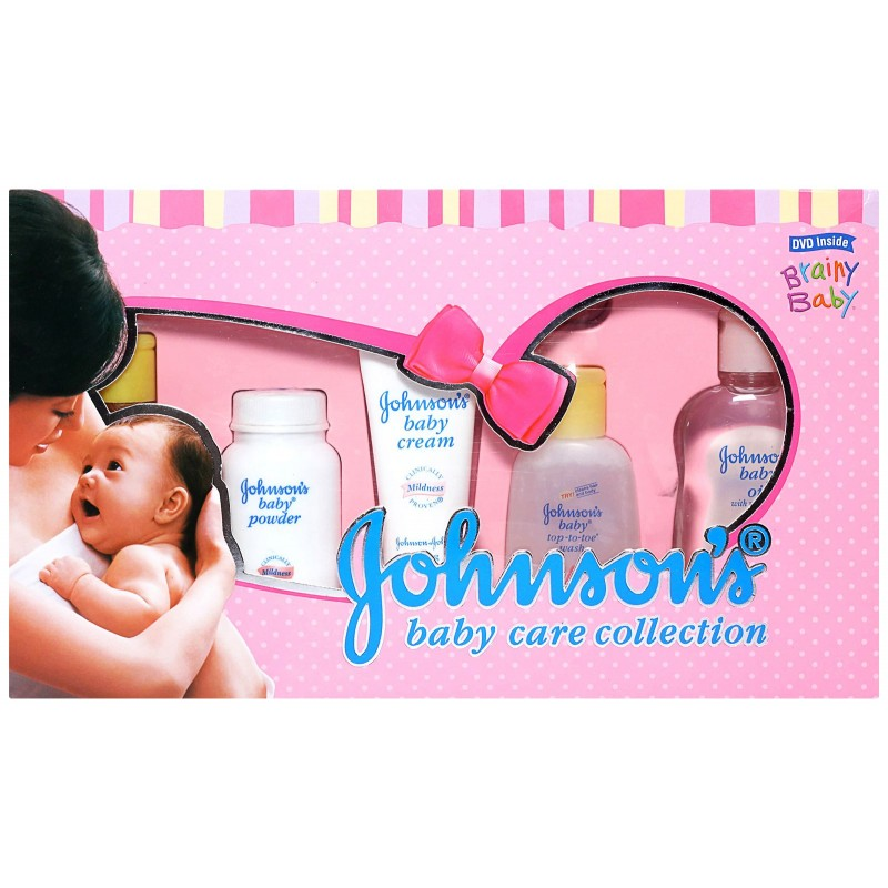 JOHNSONS BABY CARE COLLECTION (MEDIUM) - BABY OIL, POWDER, SHAMPOO, TOP-TO-TOE WASH, HAIR BRUSH, CREAM AND A DVD FOR NEW MOTHERS