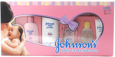 JOHNSONS BABY CARE COLLECTION (BIG) - BABY HAIR OIL WITH ALOE VERA AND VITAMIN E, SHAMPOO, POWDER, LOTION, CREAM, SOFT NYLON HAIR BRUSH AND A DVD FOR NEW MOTHERS