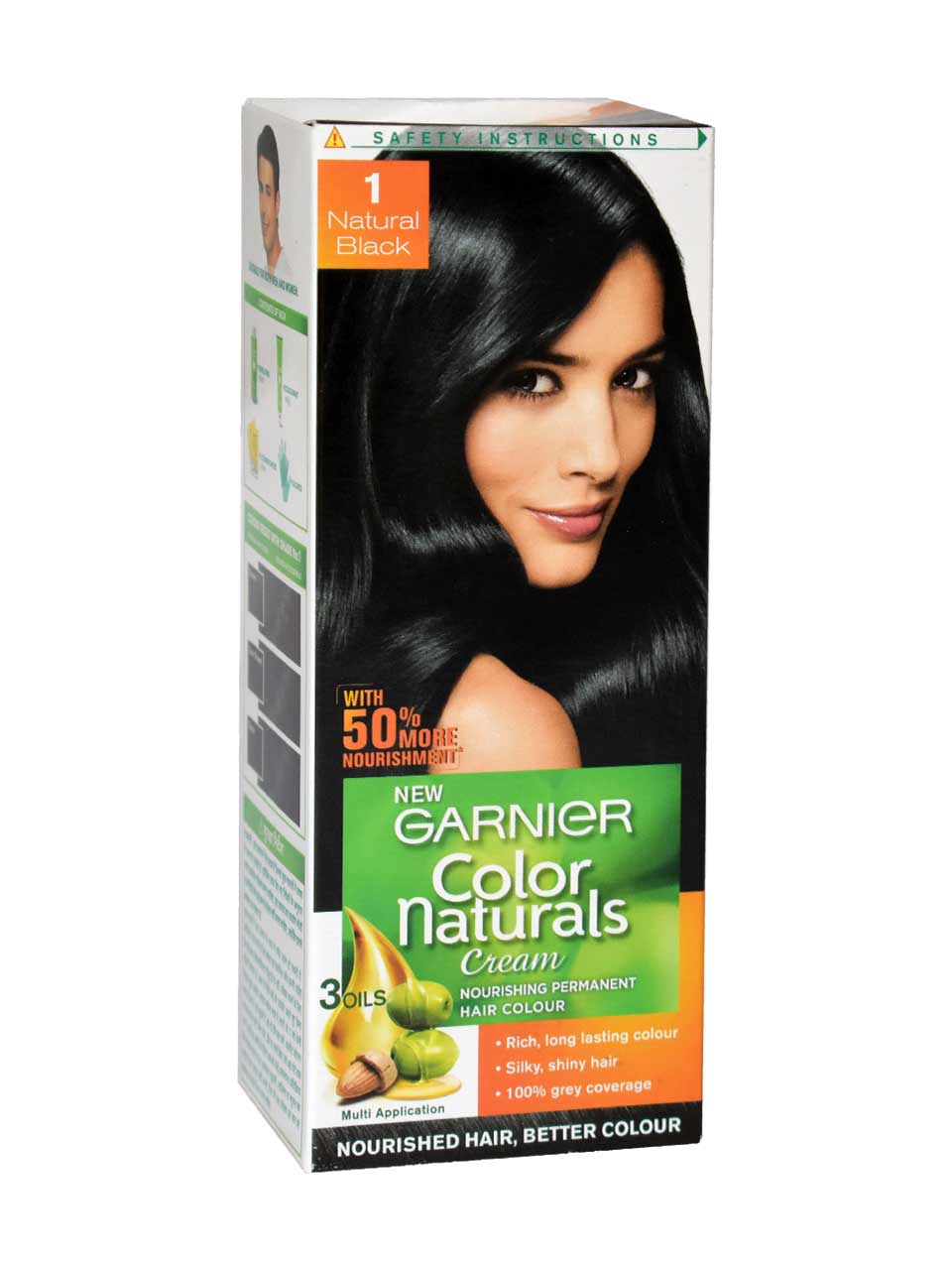 GARNIER COLOR NATURAL BLACK HAIR COLOR PACKET - 70 ML PLUS 60 GM