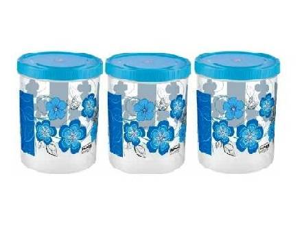 PLASTIC CONTAINER SET WITH SPOON 1100 ML (COLOR MAY VARY) - 3 PCS