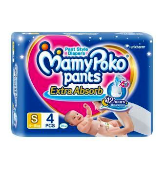 MAMY POKO PANTS EXTRA ABSORB SMALL DIAPERS - 4 PCS