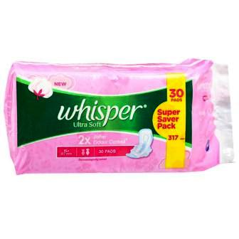 WHISPER ULTRA SOFT XL PLUS WINGS SANITARY PADS - SUPER VALUE PACK - 30 PCS
