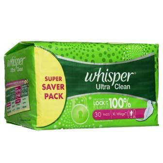 WHISPER ULTRA CLEAN XL WINGS SANITARY PADS (GREEN) - 30 PCS SUPER SAVER