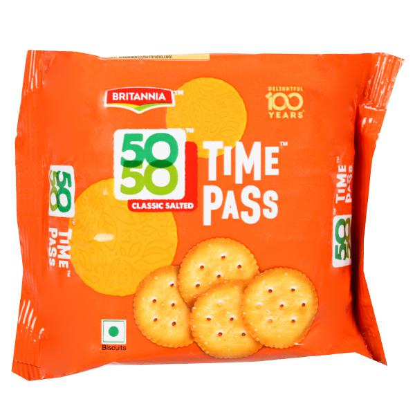 BRITANNIA 50 50 TIME PASS CLASSIC SALTED BISCUITS - 78 GM