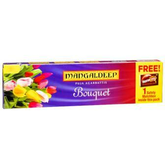 MANGALDEEP BOUQUET INCENSE STICKS DHUPKATHI AGARBATTI - 84 STICKS FREE SAFETY MATCH BOX