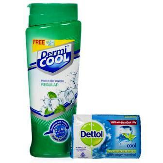 DERMI COOL MENTHOL PRICKLY HEAT POWDER - 150 GM PLUS FREE DETTOL SOAP WORTH RS 50