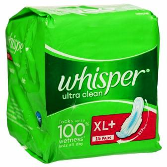 WHISPER ULTRA CLEAN XL PLUS SANITARY PADS - 15 PCS