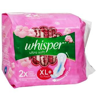 WHISPER ULTRA SOFT XL PLUS WINGS SANITARY PADS - 15 PCS