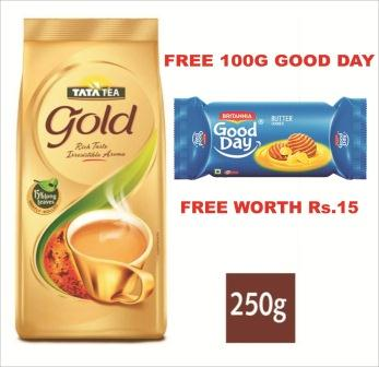 TATA TEA GOLD POUCH - 250 GM - FREE GOOD DAY