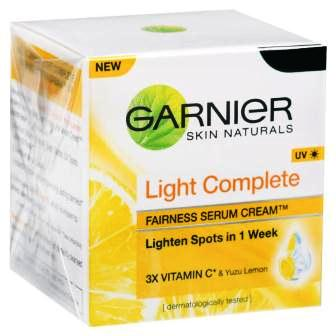 GARNIER LIGHT COMPLETE FAIRNESS SERUM CREAM (UV PROTECTION) - 23 GM