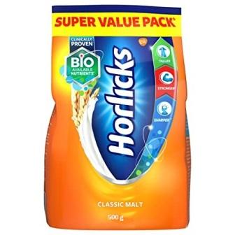 HORLICKS CLASSIC MALT BASED FOOD - SUPER VALUE PACK - 500 GM POUCH