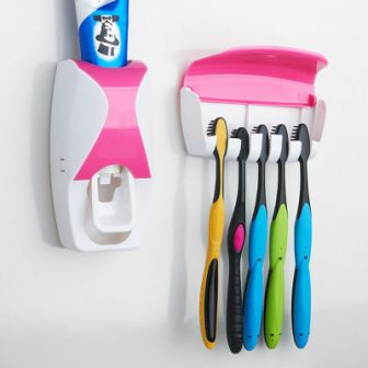 CREATIVE TOOTHPASTE SQUEEZING DEVICE WITH TOOTHBRUSH HOLDER - 1 SET